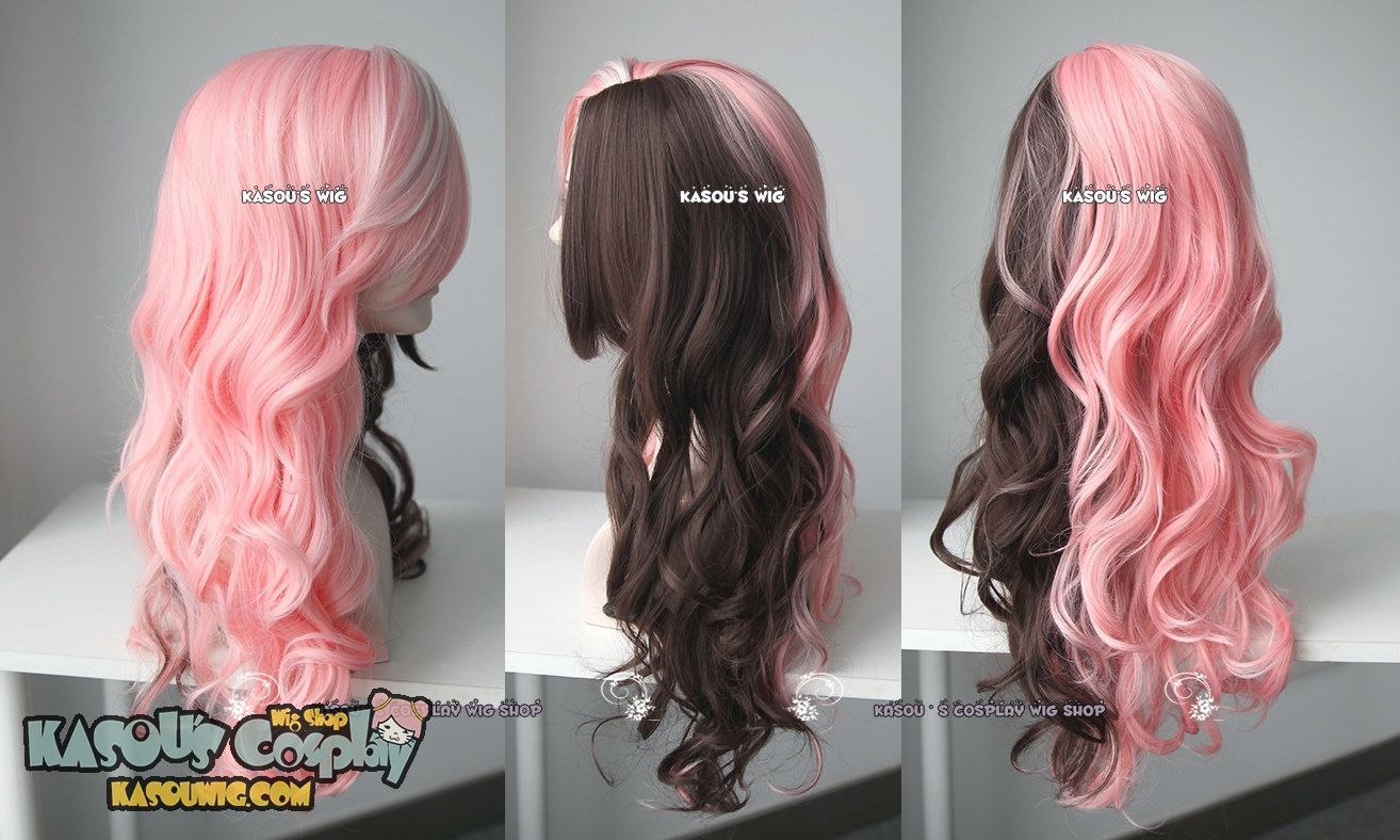 Kasou Wig Rwby Neo Pink Brown Split Body Wave Cosplay Wig 70cm