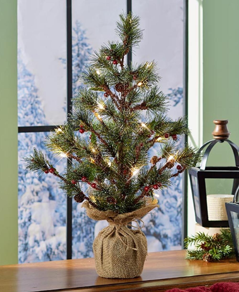 Lighted Christmas Tree Seasonal Display Woodland Holiday