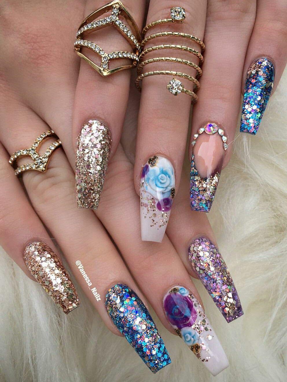 Blue glitter ombr 233 stiletto nails - Pinterest Jalape O