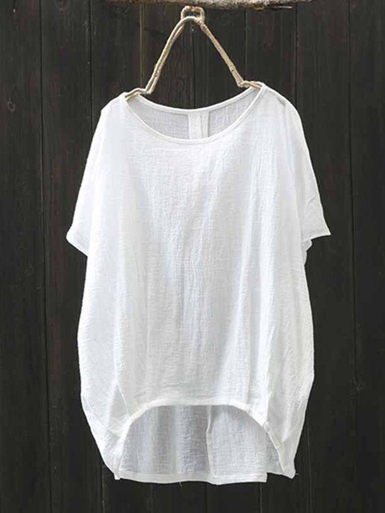 Camisa Feminina Branca com Manga Morcego Ella