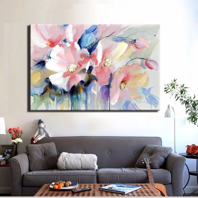 Watercolor Flower Canvas Art Painting Poster Print Wall Picture Home Decor Gift