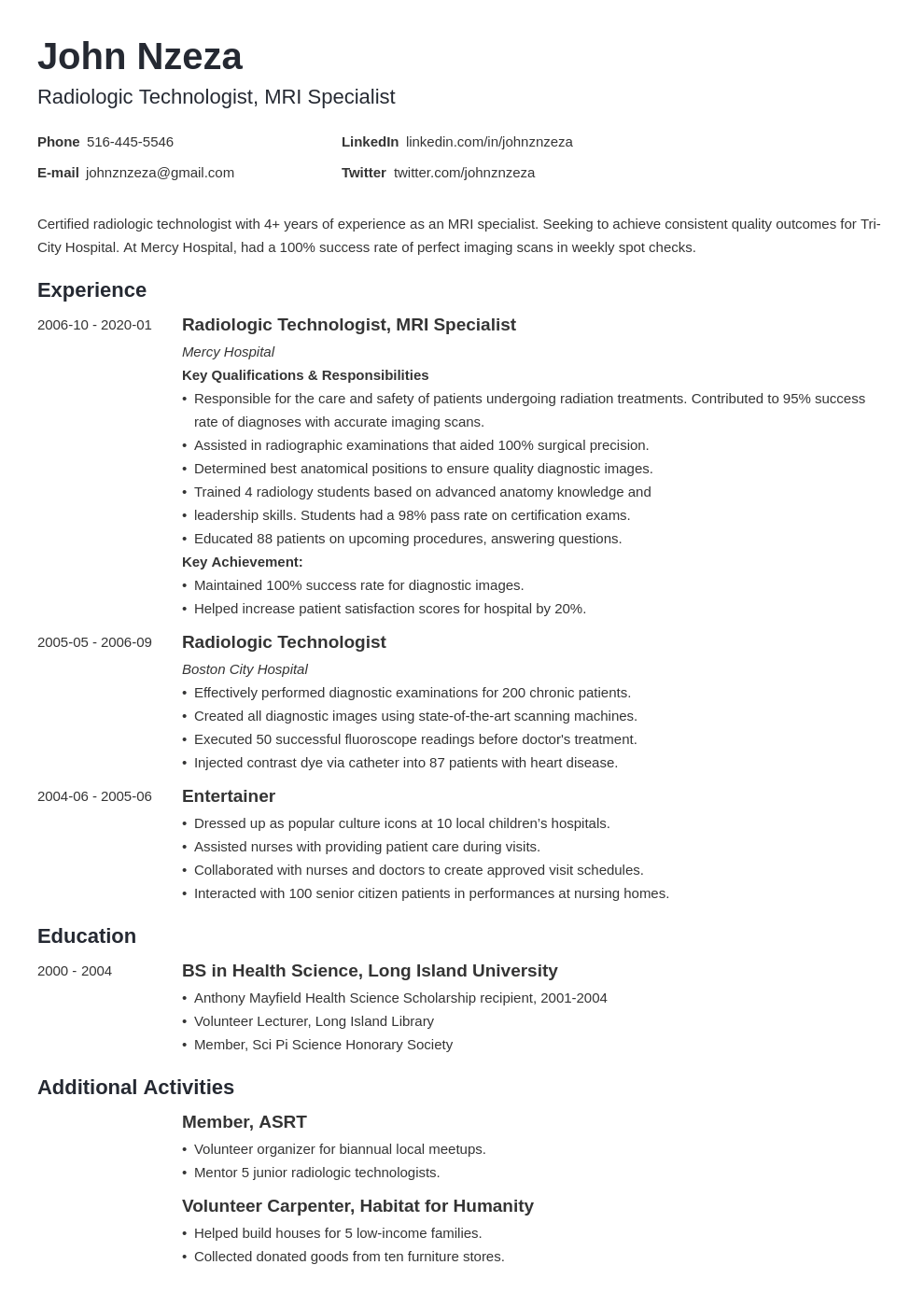 radiologic technologist resume example template minimo in