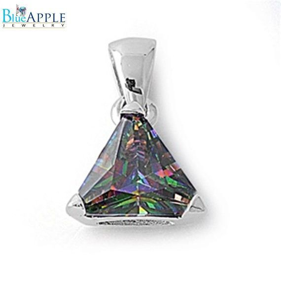 Sterling Silver Solitaire Simple Round Pendant Rainbow Simulated Topaz Charm