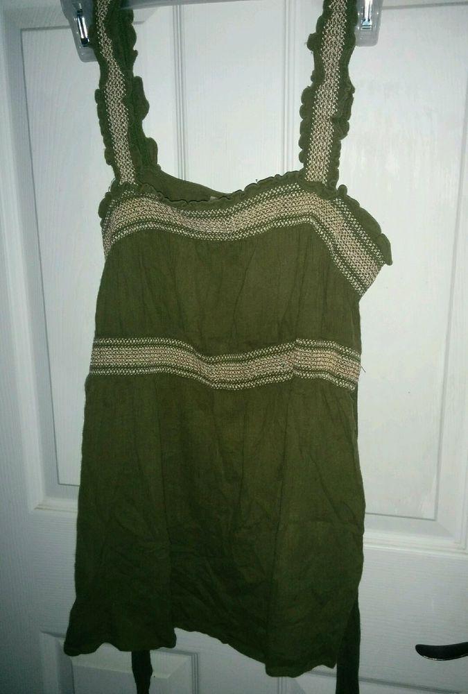 Motherhood Maternity Empire Waist Green Tie Back Shirt Top Blouse M  #Motherhood #Blouse
