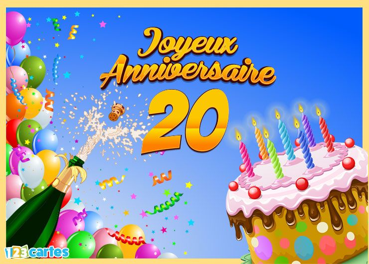Carte joyeux anniversaire 20 ans | Joyeux anniversaire 60 ans, 60 ans anniversaire, Carte joyeux anniversaire