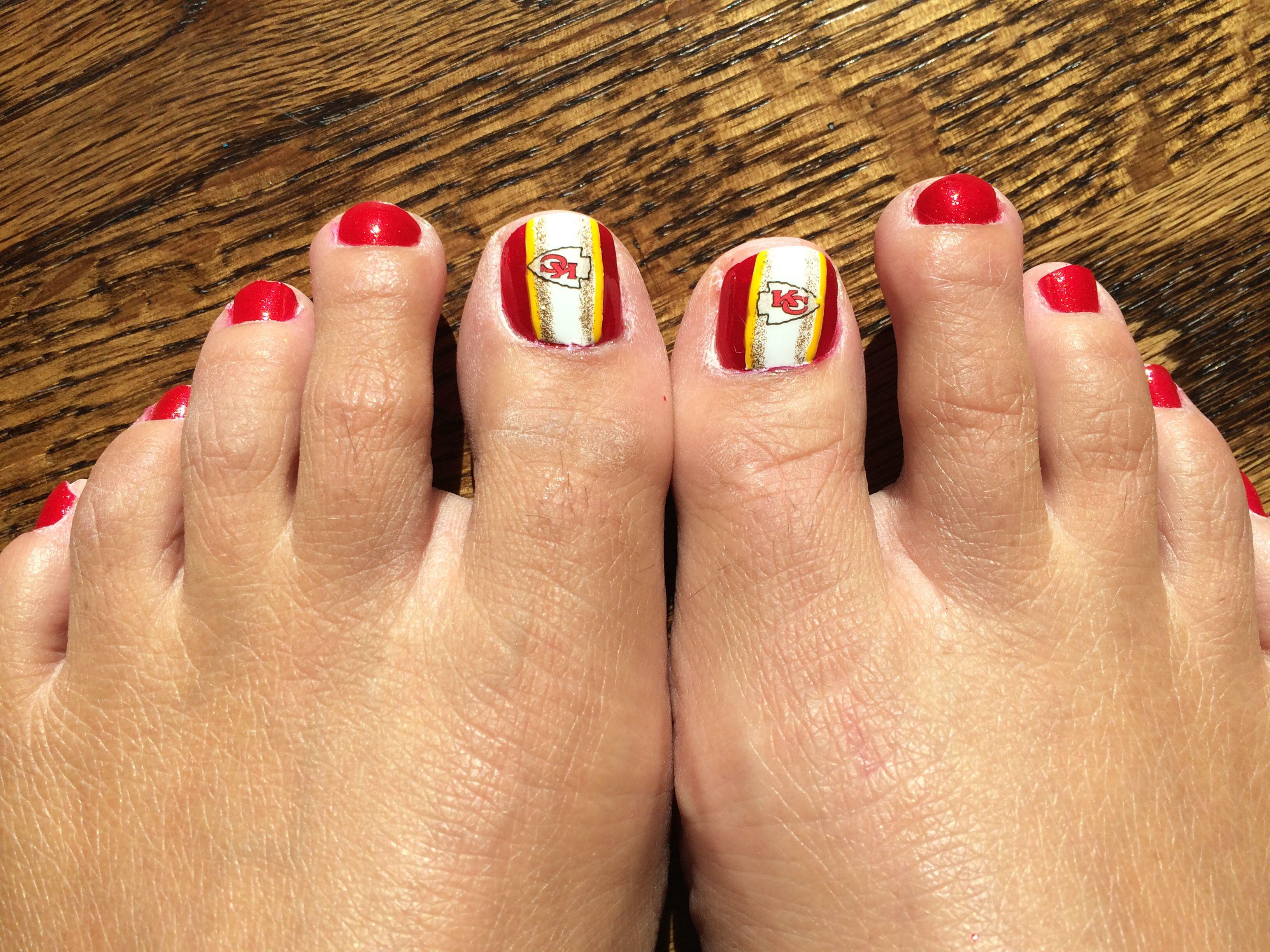Chiefs nail art | Nails | Pinterest | Sports nail art, Pedi and ...