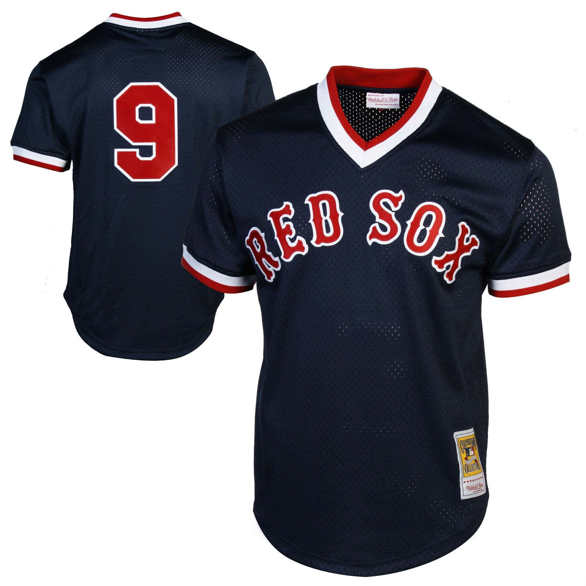 da23ecf6967 Mitchell   Ness Ted Williams Boston Red Sox 1990 Authentic Cooperstown  Collection Batting Practice Jersey - Navy Blue
