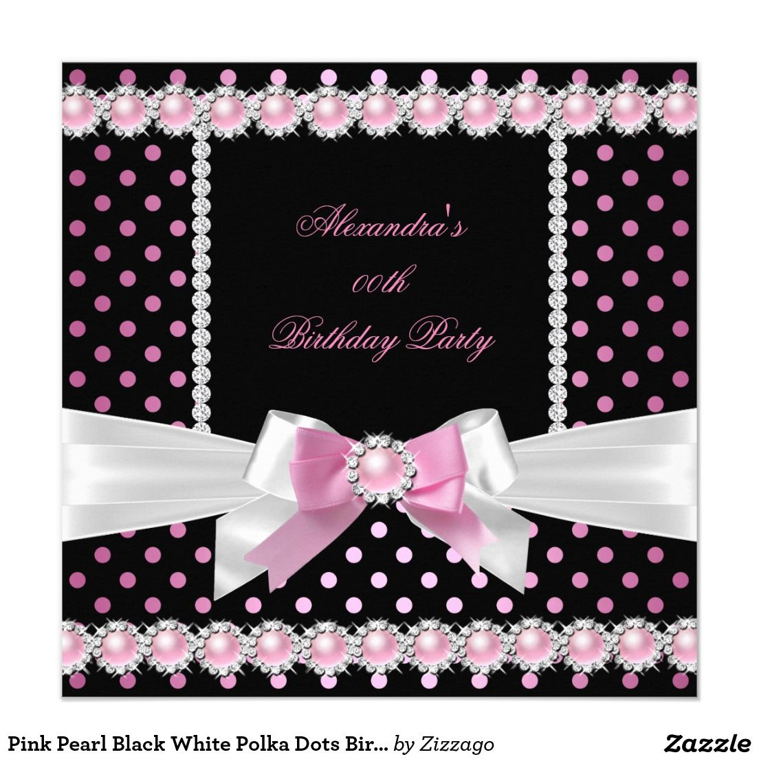 Pink Pearl Black White Polka Dots Birthday Party 5.25\