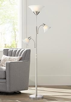 3 Light Floor Lamp Prepossessing Jordan Brushed Steel Tree Torchiere 3 Light Floor Lamp  House Design Ideas