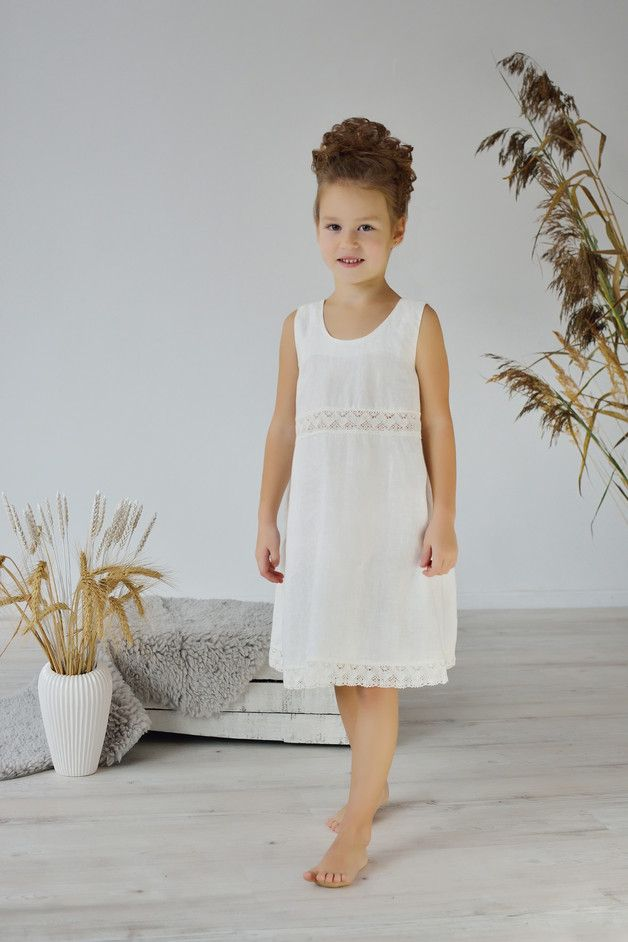 classic style skilful manufacture new photos Nighties – Linen Gown For Girl/ Lacy Linen Night Dress – a ...
