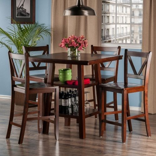 Winsome Orlando 5 Piece Counter Height Dining Table Set With V Back Stools