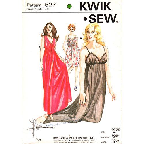 Vintage 1970s Lingerie Nightgown Pattern Kwik Sew 527 UNCUT Bust 32 ...
