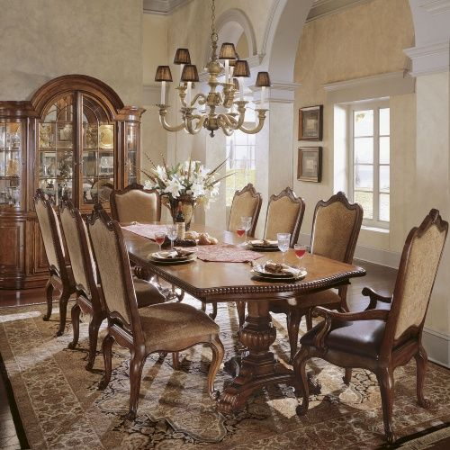 Villa Cortina 9 Piece Double Pedestal Dining Set With Leather Arm