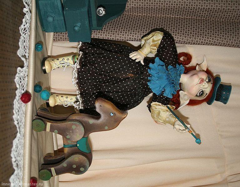 Купить АКТРИСА ЦИРКА - коричневый, бирюзовый цвет, авторская работа, авторская кукла, эксклюзивный подарок
