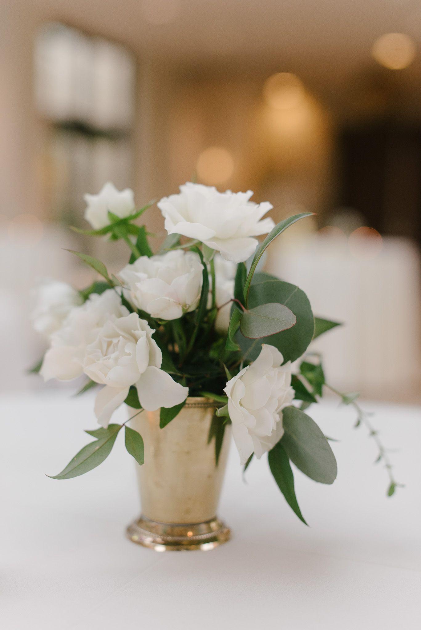 Elegant Cocktail Table Arrangement Of White Spray Roses