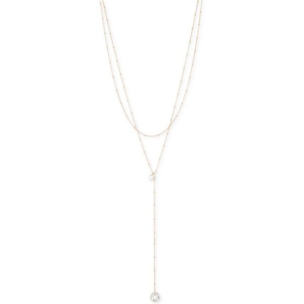 lonna & lilly Gold-Tone Crystal Drop Layer Y-Necklace ($24) ❤ liked on Polyvore featuring jewelry, necklaces, gold, layered necklace, multi layered necklace, crystal stone jewelry, crystal stone necklace and crystal necklace