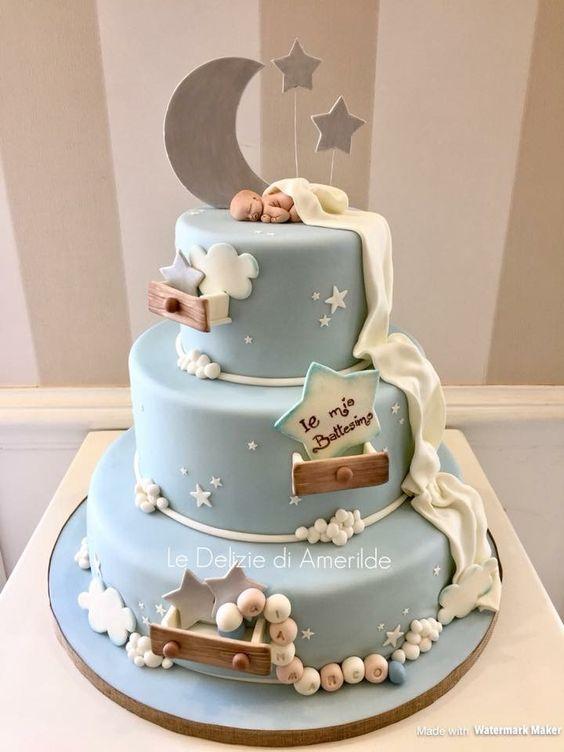 25 Tartas Para Bautizo Para Nenes Bebeazul Top Baby Birthday Cakes Baby Shower Cakes For Boys Torta Baby Shower