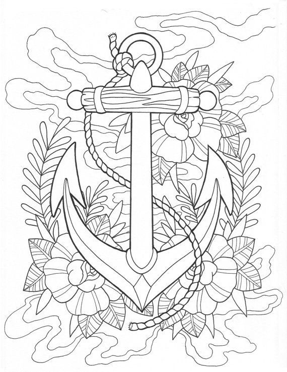 Anchor tattoo coloring Page Digital Download | Anchor printable ...