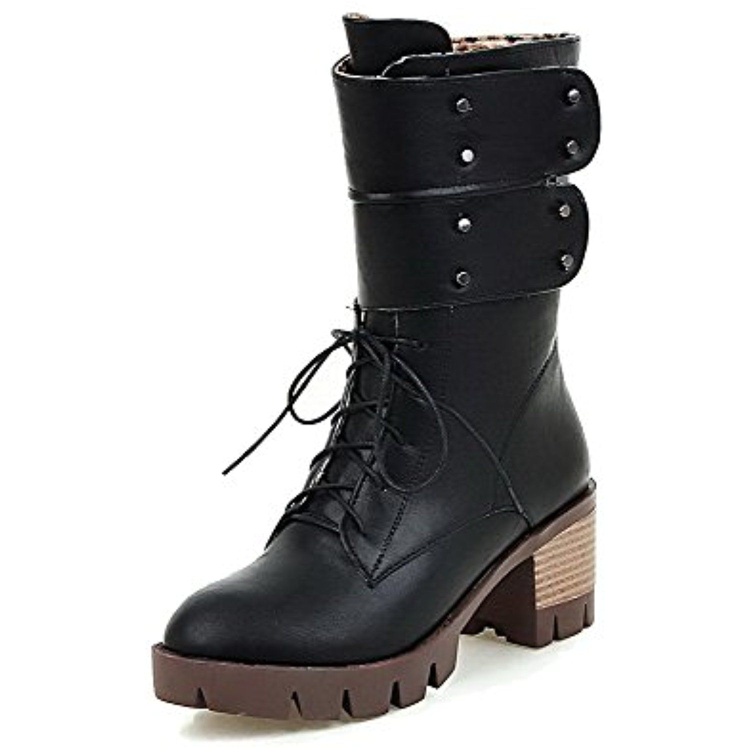 Women's Solid PU High-Heels Hook-and-Loop Round Closed Toe Boots