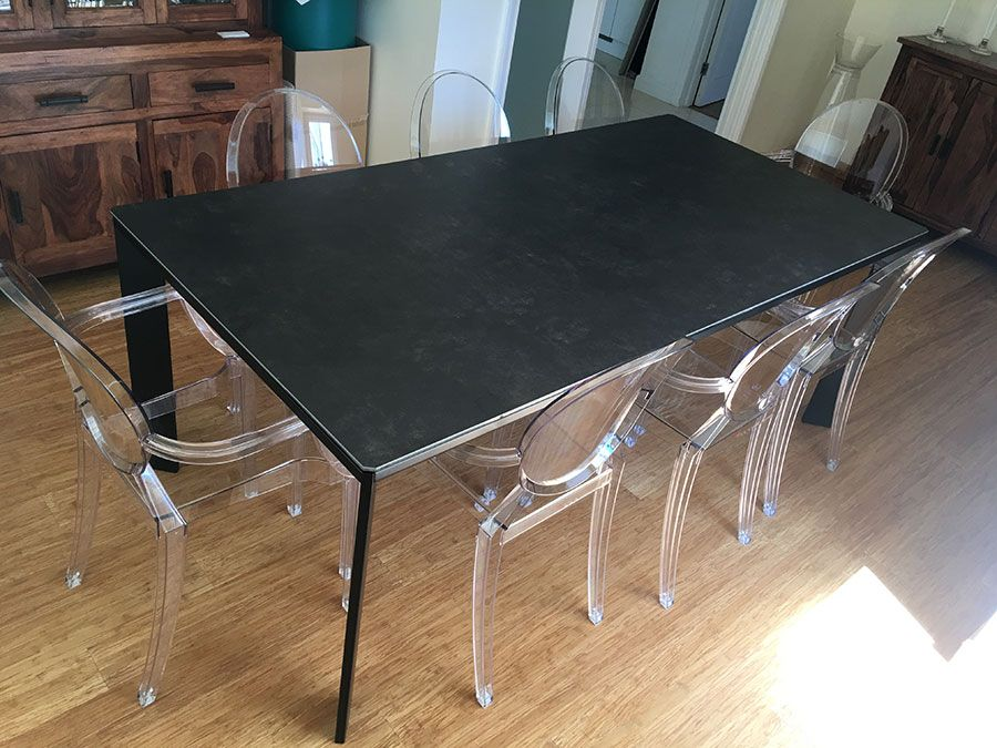 Large Urban extendable ceramic top dining table. Top in ...