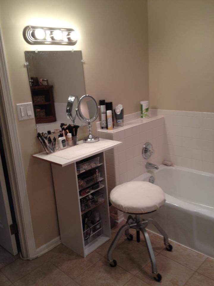 diy makeup vanity using inexpensive melamine shelving fits in a very small space - Bathroom Cabinets Small Spaces