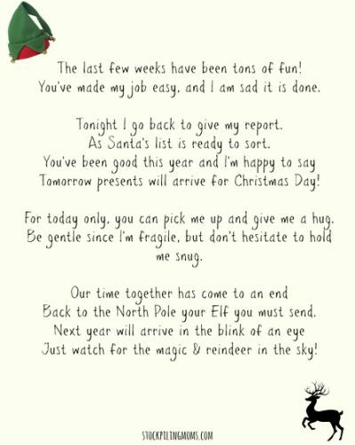 Goodbye Letter From The Elf On  Christmas    Elves And