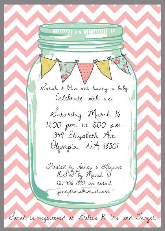 mason jar baby shower invitation | jars, invitations and baby showers,