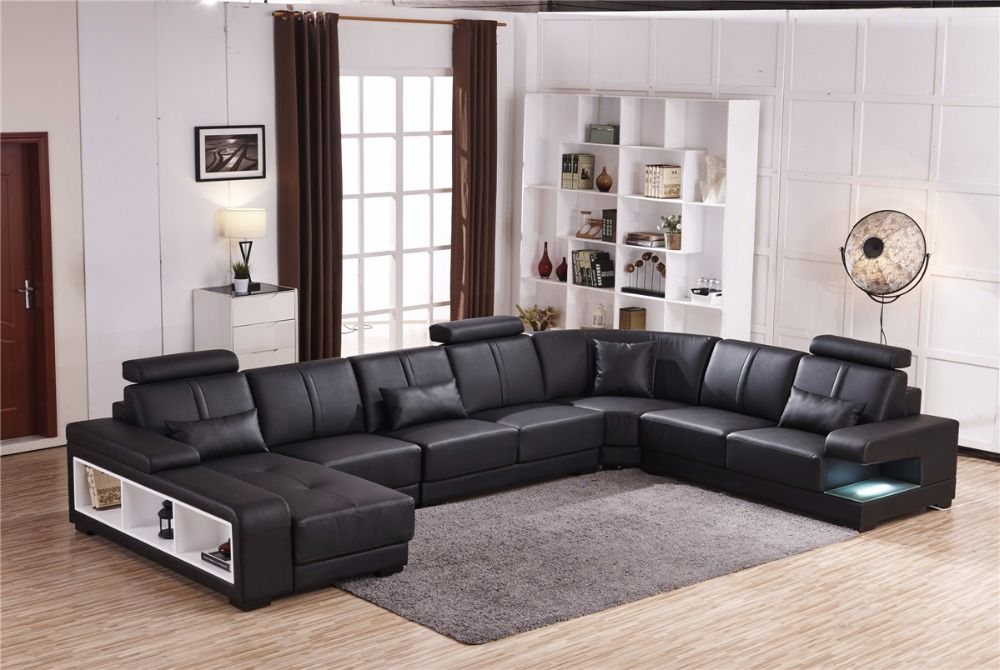 2016 11.11 Specail Offer Sectional Sofa Design U Shape Sofa 7 Seater Lounge  Couch Good Quality Cheap Price Leather Sofa