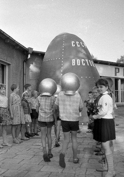 Children playing Cosmonauts of Vostok spacestation. East Berlin. 1963