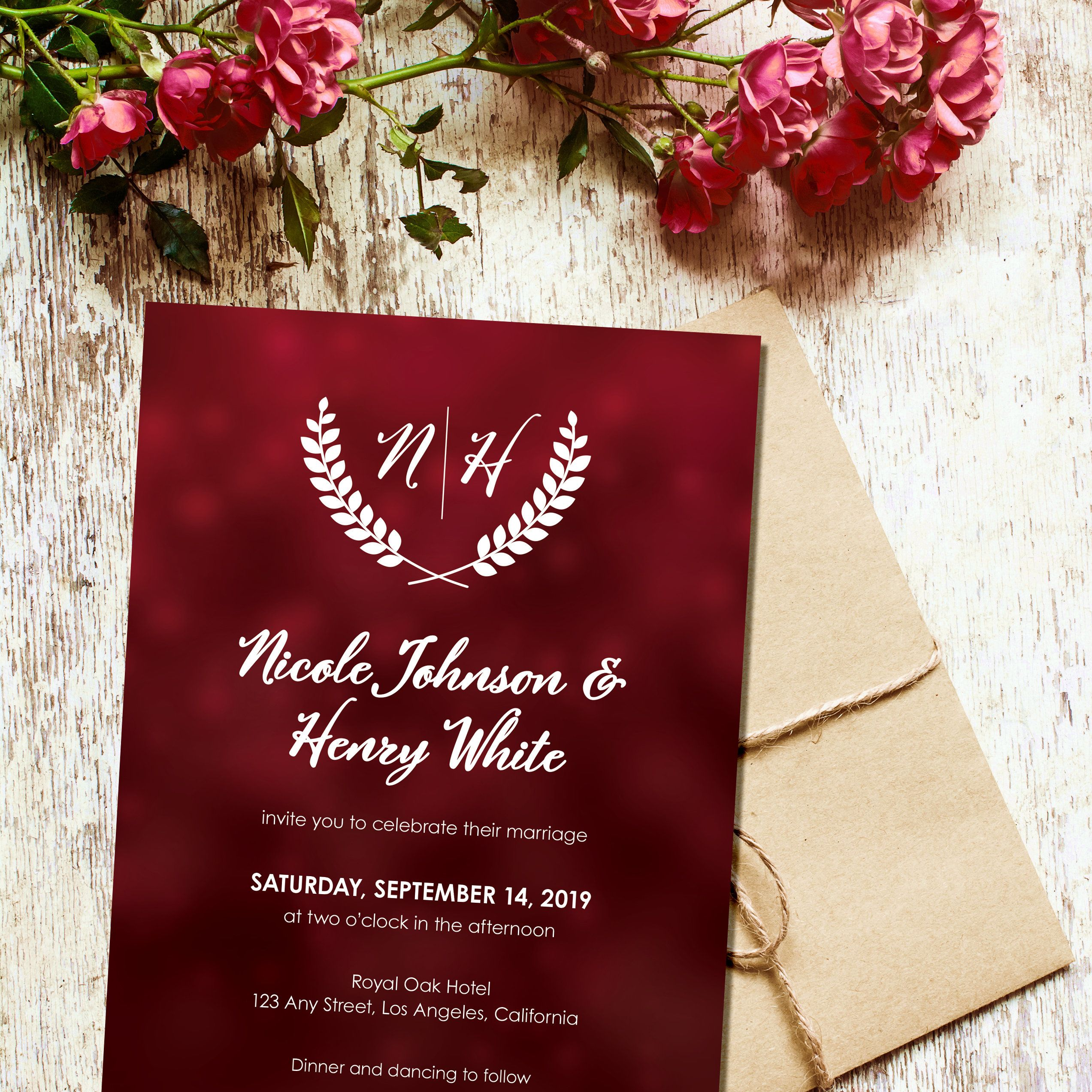 Red Wedding Invitation Template, Wedding Invites with Monogram