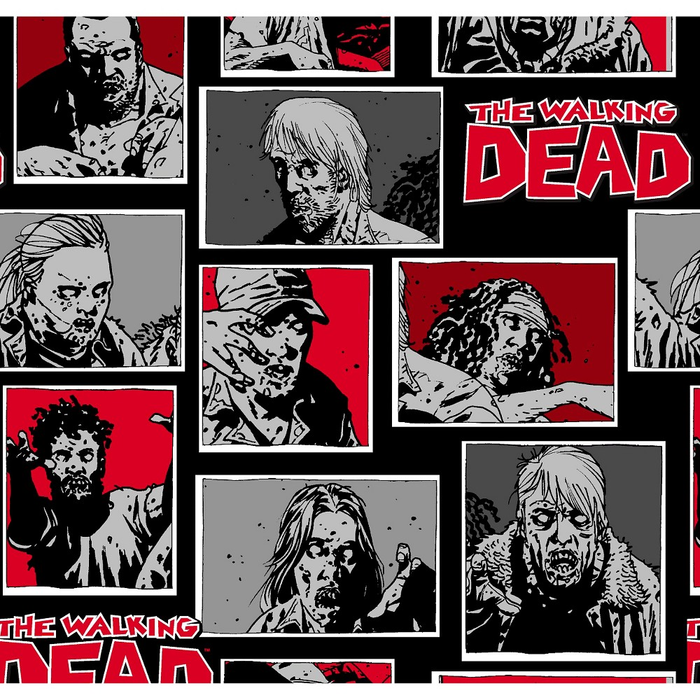 Fat Quarter The Walking Dead Zombies Comic Strip Cotton Quilting Fabric Springs