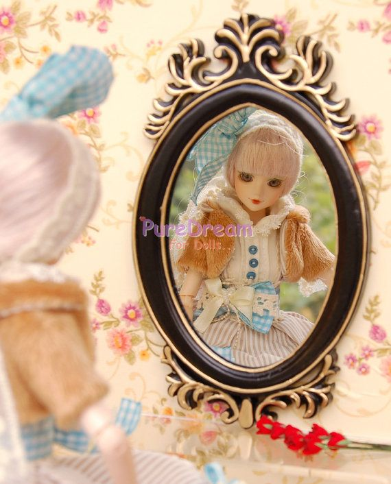 1:6 Barbie Doll's Victorian Wooden Oval Mirror Black by granfyliu