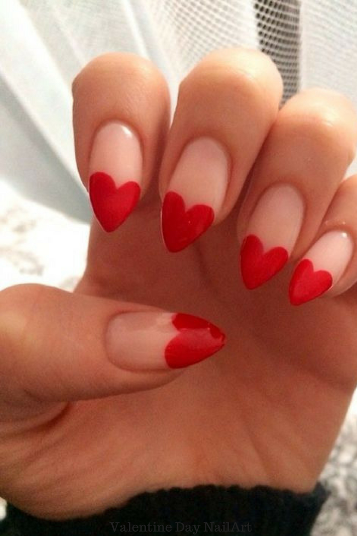 This one is for long V-shaped nails. Simple and cute with red nail ...