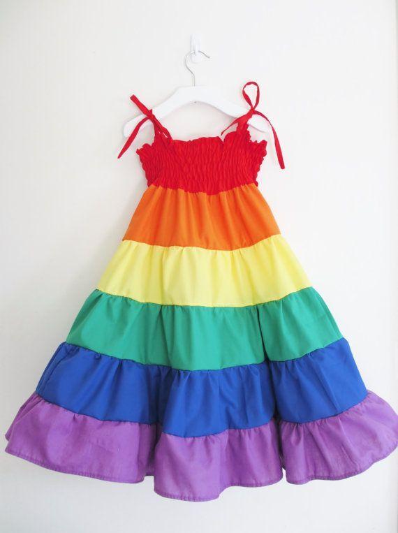Rainbow dress Girls rainbow twirl dress by ...