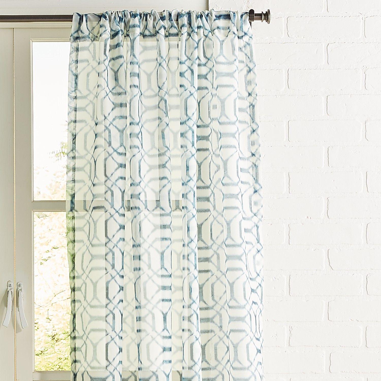 Shibori Geometric Navy 84 Sheer Curtain With Images Geometric
