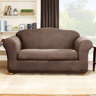 Brown Stretch Leather Slip Sofa Sure Fit Products Pinterest