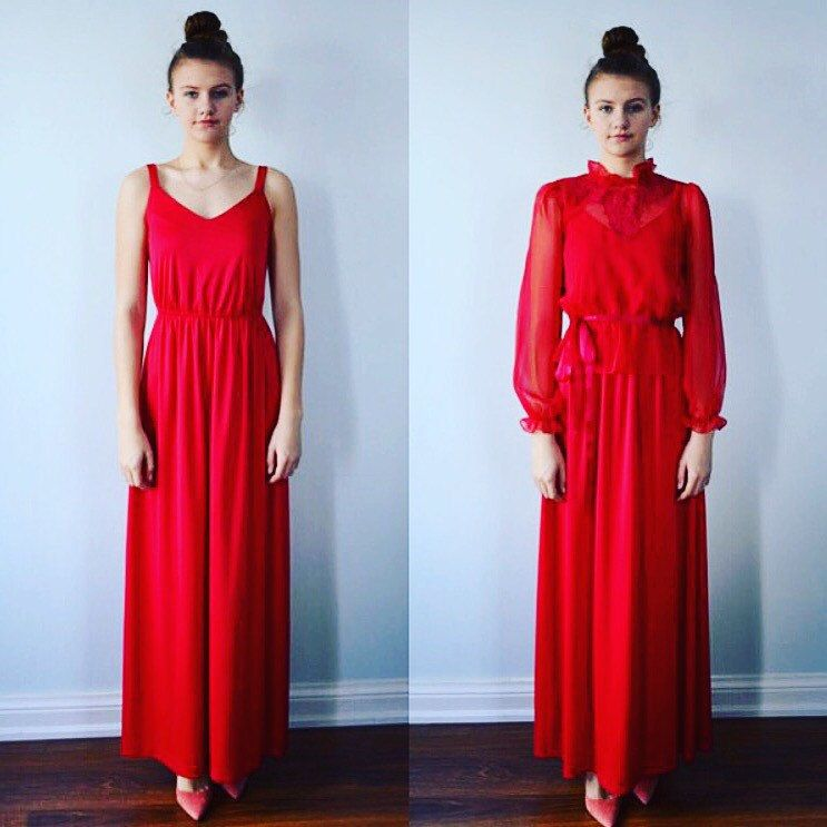 Stunning 1970\'s Vintage Red Maxi Gown   Cool clothes   Pinterest ...