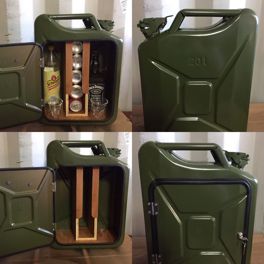 upcycled jerry can mini bar picnic camping recycled new can the original diy pinterest. Black Bedroom Furniture Sets. Home Design Ideas