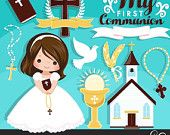 My first Communion Clipart for Girls. Cute Communion characters, graphics, bible, church, rosary, communion banner. First Communion Graphics