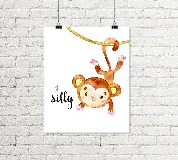 Monkey Nursery Print Be Silly Printable Wall Art Swinging
