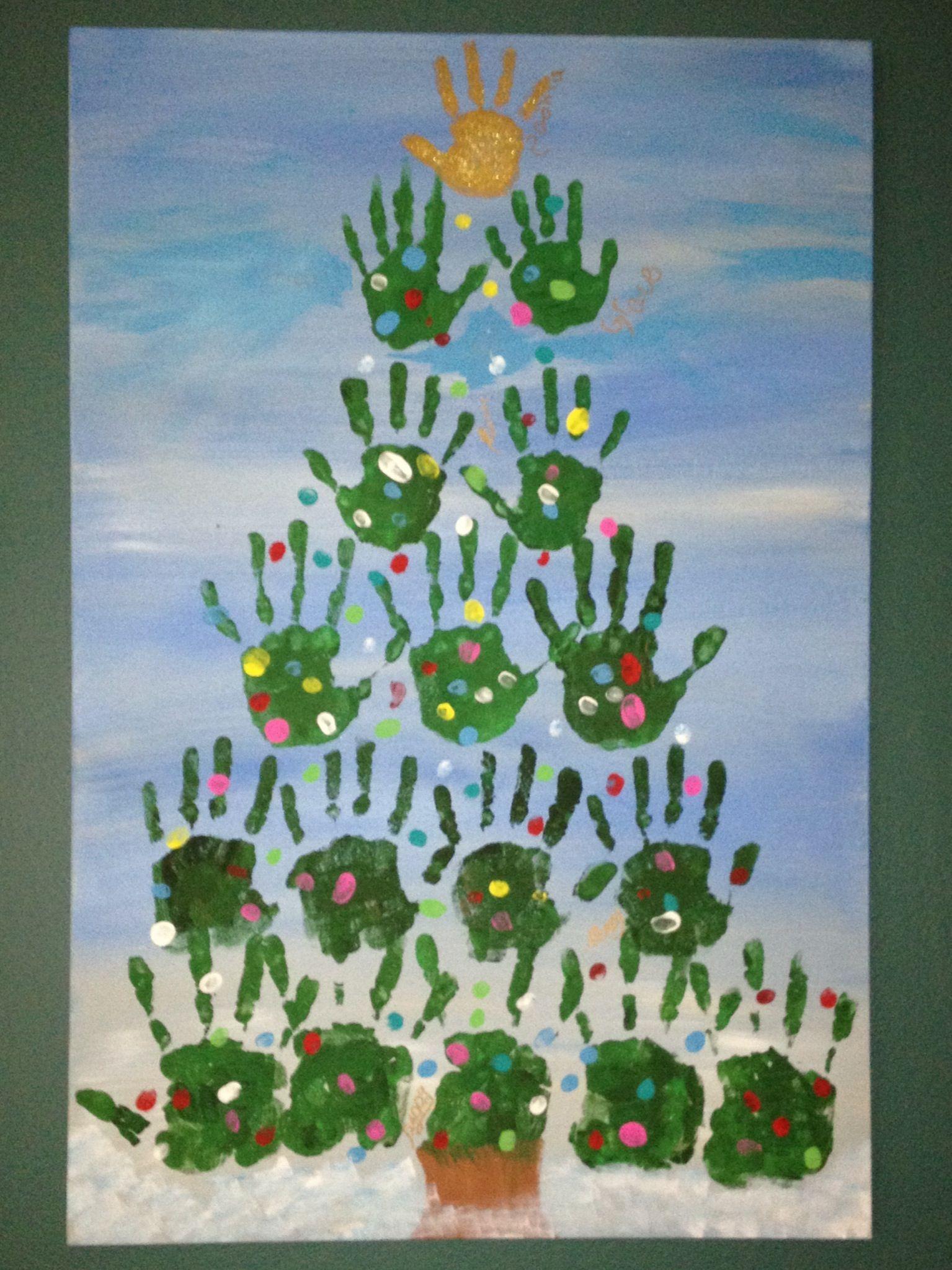 our family handprint christmas tree  handprint christmas