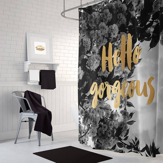 Black And Gold Shower Curtain Long Shower Curtain White