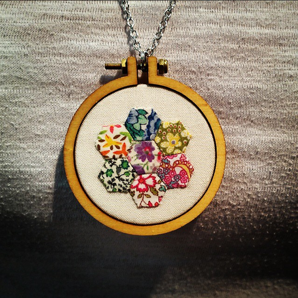 Embroidery hoop necklace!