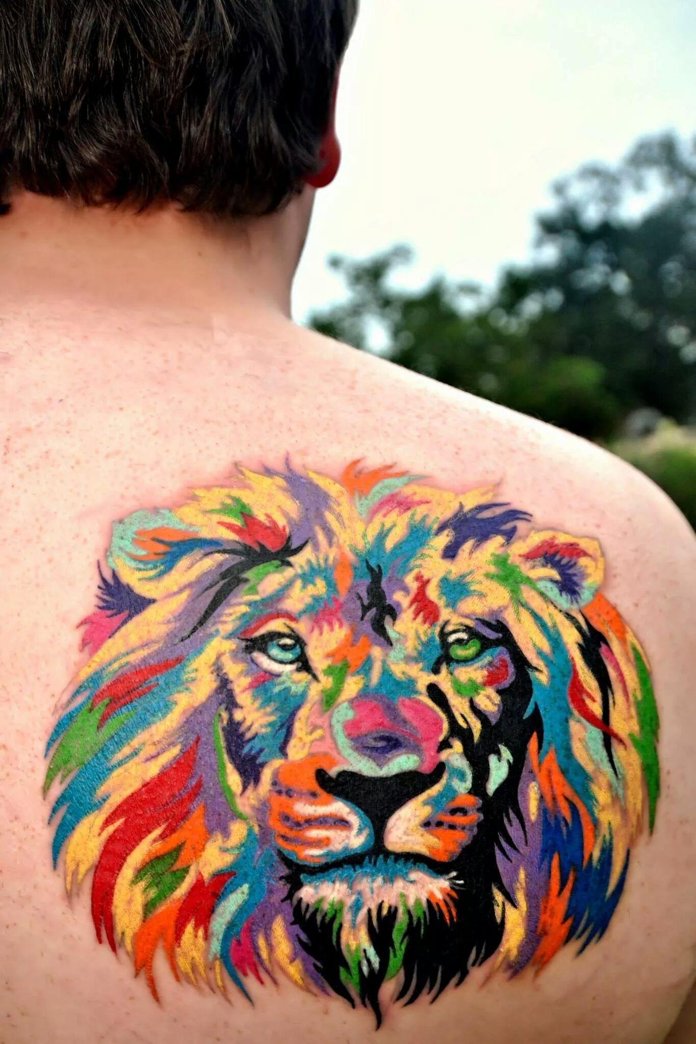 My vibrant lion tattoo done by zulu tattoo in austin tx for Great falls tattoo shops