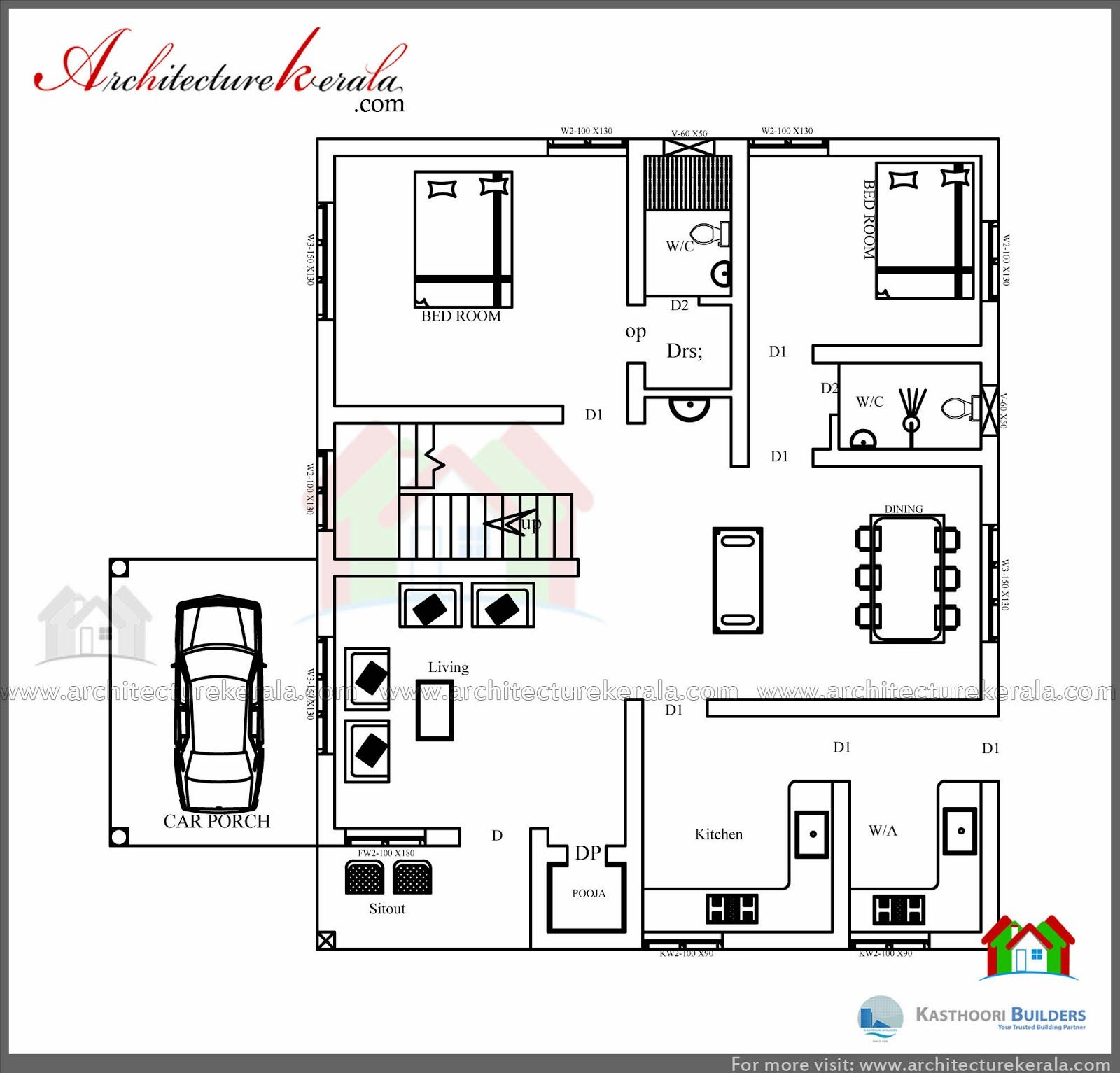 3 Bedroom House Plan And Elevation In Square Feet