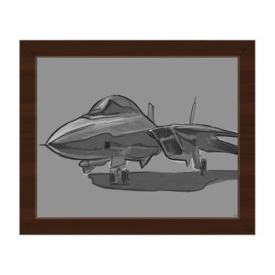 Click Wall Art 'Jet Fighter on Gray' Framed Graphic Art