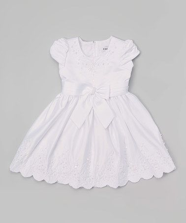 Loving this White Bow Scalloped Baptism Dress - Infant & Toddler on #zulily! #zulilyfinds
