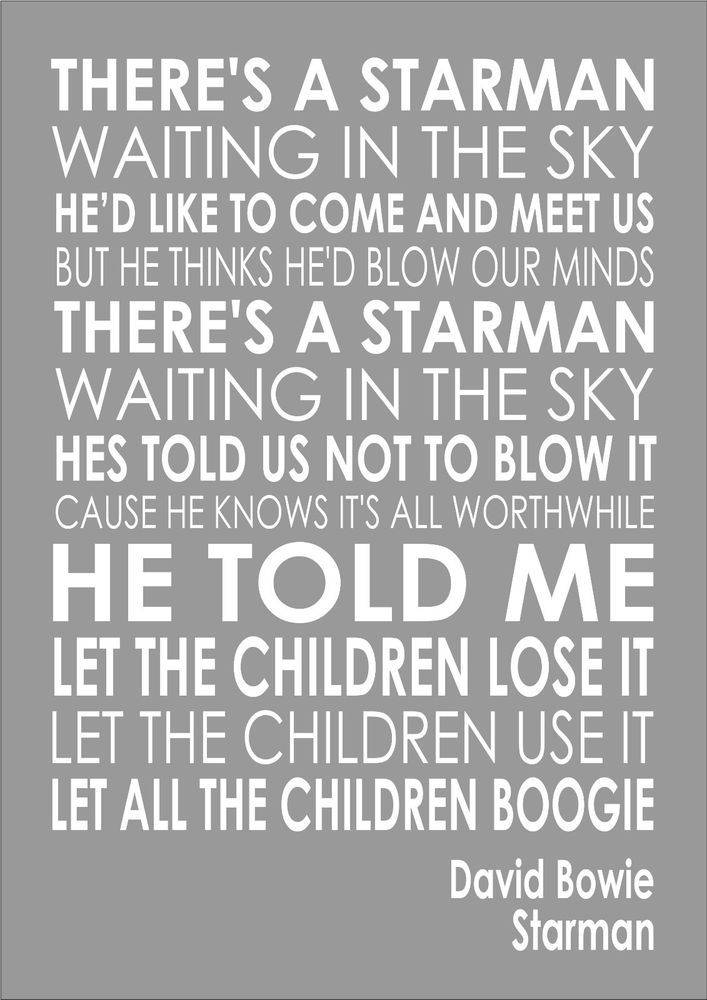 Starman David Bowie Word Words Song Lyric Lyrics Wall Art ...