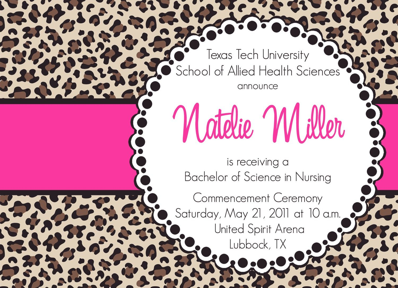 natelie custom cheetah print graduation announcement printable