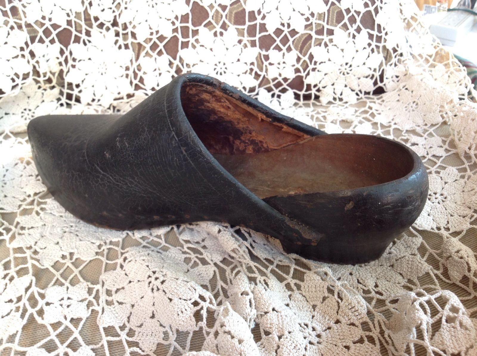 7dac17526f41a Vintage French Wooden Clogs Sabots Embossed Leather Uppers 1800s ...